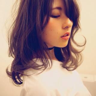 ゆるふわ 大人かわいい 秋 ミディアム ヘアスタイルや髪型の写真・画像
