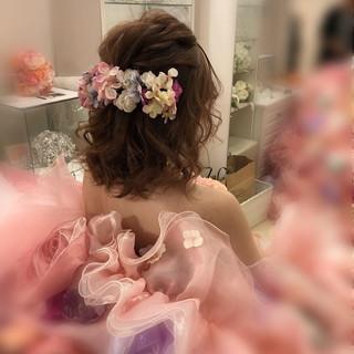 ハーフアップ ヘアアレンジ ボブ ガーリー ヘアスタイルや髪型の写真・画像 ヘアスタイルや髪型の写真・画像