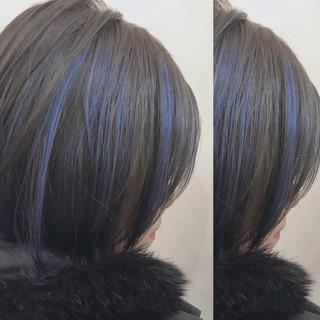 インナーカラー ユニコーンカラー バレイヤージュ ハイライト ヘアスタイルや髪型の写真・画像