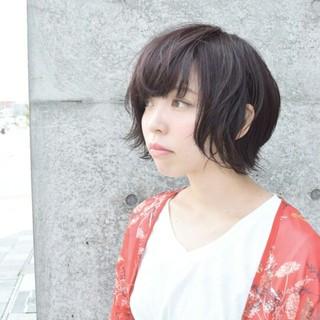 暗髪 ショート アッシュ 秋 ヘアスタイルや髪型の写真・画像 ヘアスタイルや髪型の写真・画像