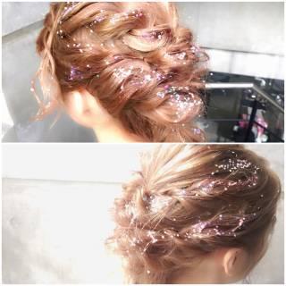 ガーリー パーティ ヘアアレンジ セミロング ヘアスタイルや髪型の写真・画像