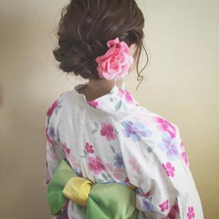 花火大会 結婚式 秋 大人かわいい ヘアスタイルや髪型の写真・画像