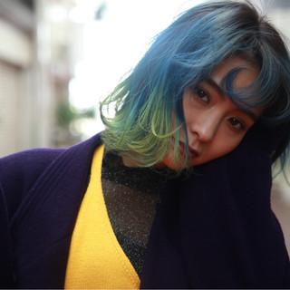 モード ミディアム イエロー 個性的 ヘアスタイルや髪型の写真・画像