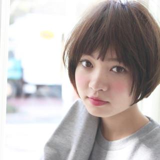 小顔 ショート 黒髪 大人女子 ヘアスタイルや髪型の写真・画像