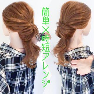 ロング くるりんぱ フェミニン デート ヘアスタイルや髪型の写真・画像 ヘアスタイルや髪型の写真・画像