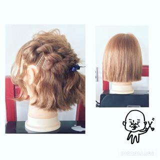 編み込み ねじり ヘアアクセ ヘアピン ヘアスタイルや髪型の写真・画像 ヘアスタイルや髪型の写真・画像