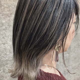 ナチュラル ハイライト ボブ アッシュグレージュ ヘアスタイルや髪型の写真・画像 ヘアスタイルや髪型の写真・画像