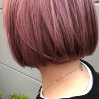 ホワイトカラー ピンクラベンダー ボブ ピンクアッシュ ヘアスタイルや髪型の写真・画像