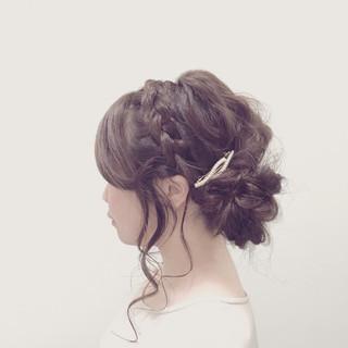ゆるふわ 波ウェーブ 編み込み ヘアアレンジ ヘアスタイルや髪型の写真・画像 ヘアスタイルや髪型の写真・画像
