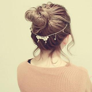 簡単ヘアアレンジ ミディアム ヘアアレンジ ショート ヘアスタイルや髪型の写真・画像