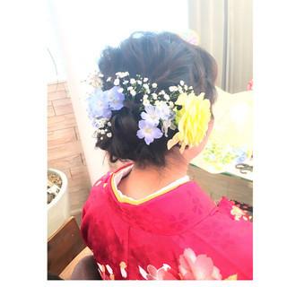 袴 ボブ ナチュラル 編み込み ヘアスタイルや髪型の写真・画像
