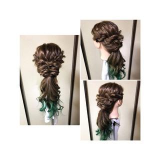 くるりんぱ ロング フェミニン 編み込み ヘアスタイルや髪型の写真・画像