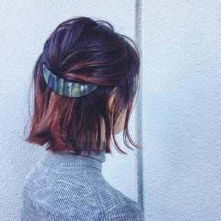 インナーカラー 切りっぱなし 大人女子 ピンク ヘアスタイルや髪型の写真・画像