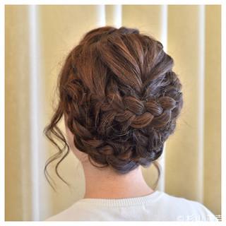 ヘアアレンジ フィッシュボーン 結婚式 ロング ヘアスタイルや髪型の写真・画像