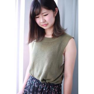 透明感 リラックス ミディアム 秋 ヘアスタイルや髪型の写真・画像