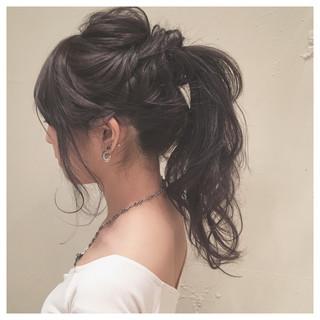 ロング ゆるふわ ポニーテール 結婚式 ヘアスタイルや髪型の写真・画像