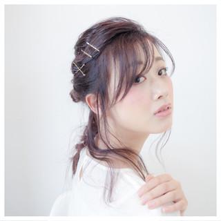 ヘアアレンジ 簡単ヘアアレンジ セミロング 暗髪 ヘアスタイルや髪型の写真・画像