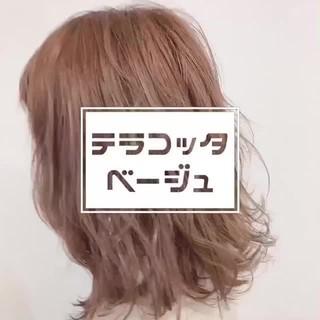 ミディアム ブリーチ必須 オレンジカラー ナチュラル ヘアスタイルや髪型の写真・画像