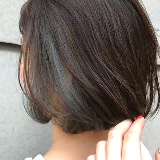 ボブ ブルー デート インナーカラー ヘアスタイルや髪型の写真・画像