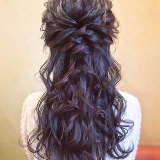 ハーフアップ お呼ばれ デート ロング ヘアスタイルや髪型の写真・画像