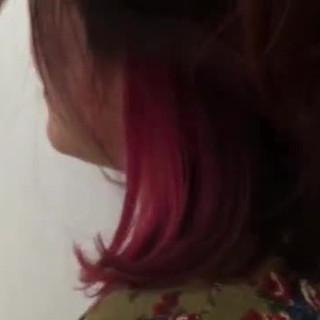 グラデーションカラー インナーカラー ボブ ピンク ヘアスタイルや髪型の写真・画像