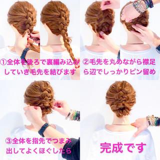 ロング ヘアアレンジ 謝恩会 編み込み ヘアスタイルや髪型の写真・画像