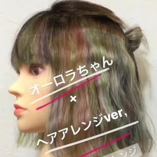 ハイトーン モード ボブ インナーカラー ヘアスタイルや髪型の写真・画像
