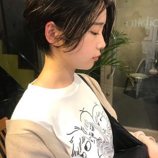 ショート 黒髪 モード パーマ ヘアスタイルや髪型の写真・画像