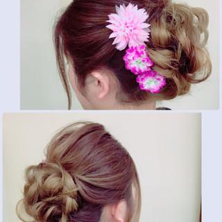 アップスタイル 振袖 ヘアアレンジ フェミニン ヘアスタイルや髪型の写真・画像