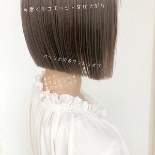 ハンサムショート ナチュラル ミニボブ 切りっぱなしボブ ヘアスタイルや髪型の写真・画像
