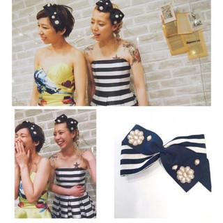 ガーリー ミディアム ショート ヘアアレンジ ヘアスタイルや髪型の写真・画像