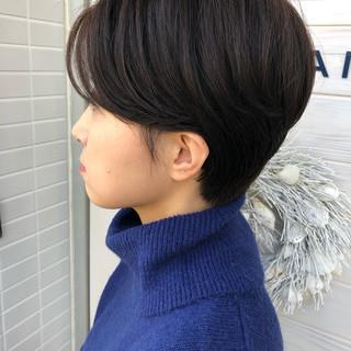 マッシュ ボブ ショート ナチュラル ヘアスタイルや髪型の写真・画像