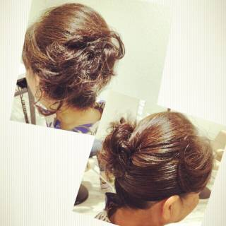 大人女子 アップスタイル セミロング 結婚式 ヘアスタイルや髪型の写真・画像