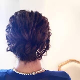 大人かわいい ナチュラル 結婚式 アップスタイル ヘアスタイルや髪型の写真・画像
