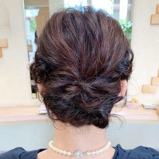 結婚式 ミディアム ヘアアレンジ ヘアセット ヘアスタイルや髪型の写真・画像