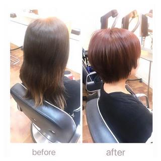 小顔ヘア ピンクブラウン ナチュラル ショート ヘアスタイルや髪型の写真・画像
