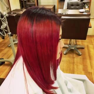 レッド ピンク ロング グラデーションカラー ヘアスタイルや髪型の写真・画像