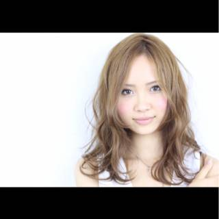 渋谷系 ゆるふわ ミディアム ナチュラル ヘアスタイルや髪型の写真・画像