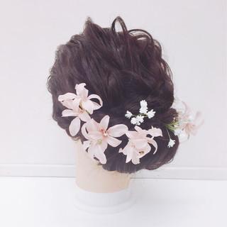 ヘアアクセ ギブソンタック 結婚式 ヘアアレンジ ヘアスタイルや髪型の写真・画像
