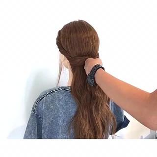 色気 簡単ヘアアレンジ アウトドア ロング ヘアスタイルや髪型の写真・画像