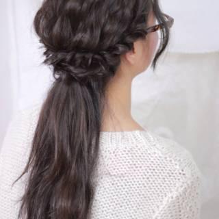 編み込み ヘアアレンジ 愛され かわいい ヘアスタイルや髪型の写真・画像