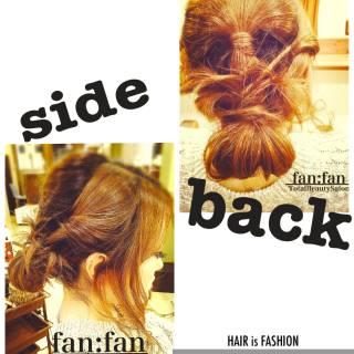 シニヨン ガーリー ミディアム ナチュラル ヘアスタイルや髪型の写真・画像