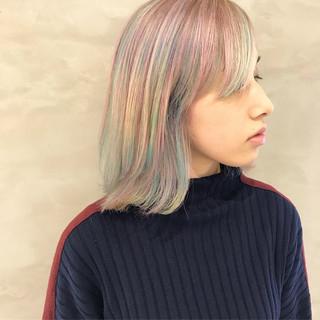 モード 個性的 ロブ 外ハネ ヘアスタイルや髪型の写真・画像