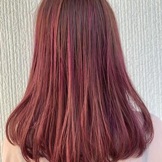 ピンク 秋 ハイライト ヘアアレンジ ヘアスタイルや髪型の写真・画像