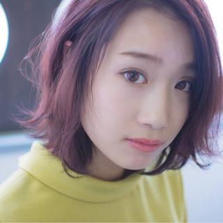 ピンク ロブ ナチュラル レッド ヘアスタイルや髪型の写真・画像