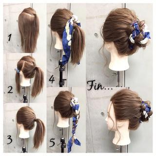 お団子 ヘアアレンジ 大人女子 セミロング ヘアスタイルや髪型の写真・画像