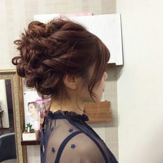 編み込み エレガント 上品 セミロング ヘアスタイルや髪型の写真・画像