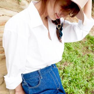 セミロング ヘアアレンジ フェミニン ハーフアップ ヘアスタイルや髪型の写真・画像 ヘアスタイルや髪型の写真・画像