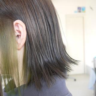ダブルカラー ナチュラル ボブ グレージュ ヘアスタイルや髪型の写真・画像