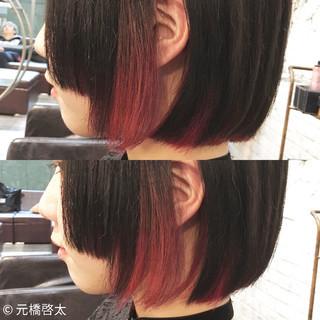 レッド ボブ ピンク モード ヘアスタイルや髪型の写真・画像